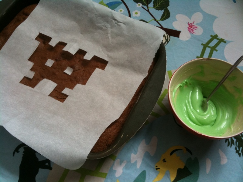 gateau au chocolat space invader