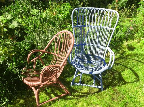 Tambouille fauteuil en osier relook - Peindre un fauteuil en osier ...